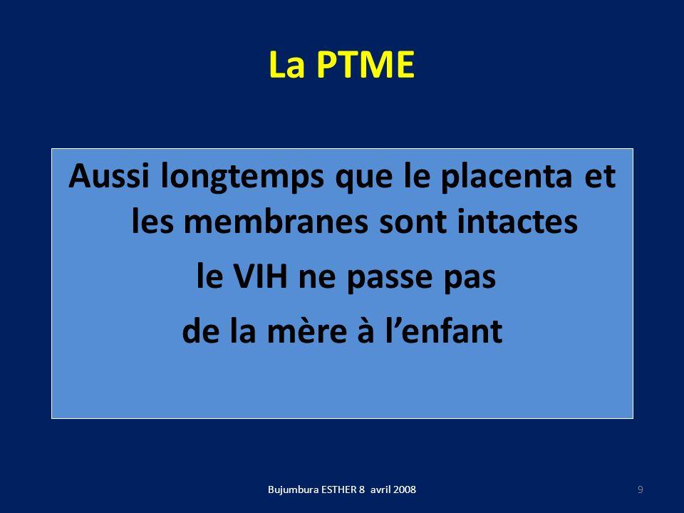 La PTME Bujumbura ESTHER 8 avril 2008 10 La PTME dépend avant tout de la charge virale : son objectif principal est de rendre la charge virale indétectable