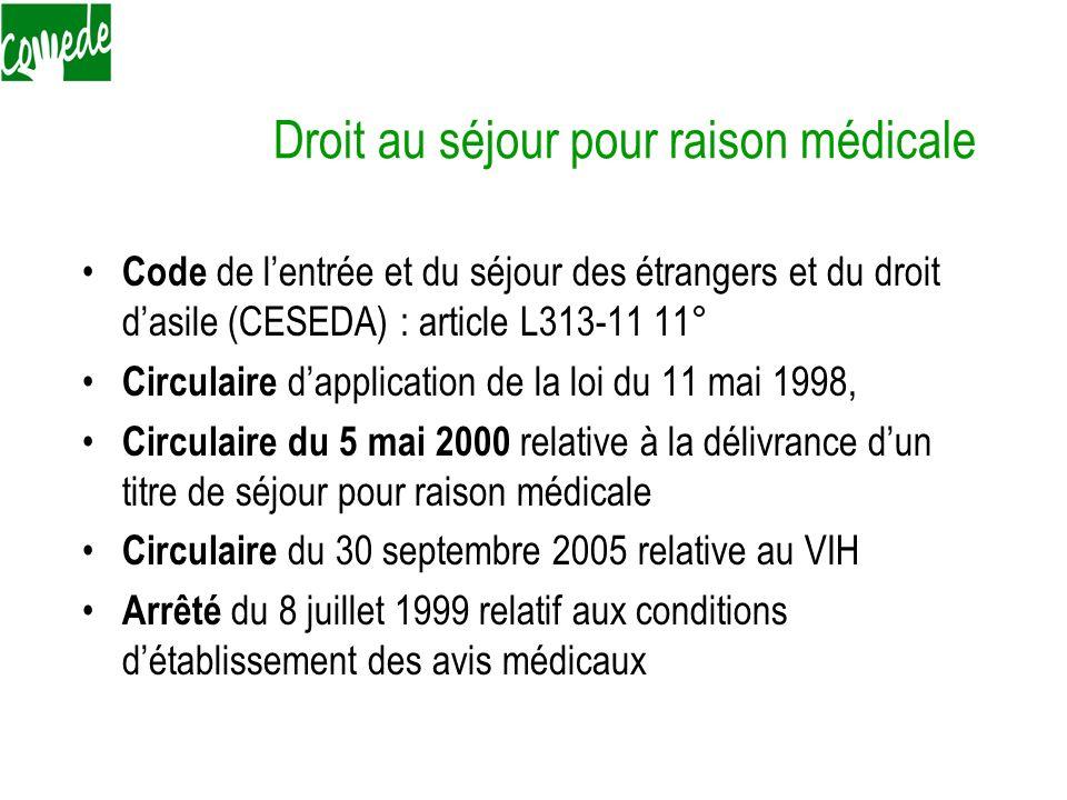 Droit au séjour pour raison médicale Code de lentrée et du séjour des étrangers et du droit dasile (CESEDA) : article L313-11 11° Circulaire dapplicat