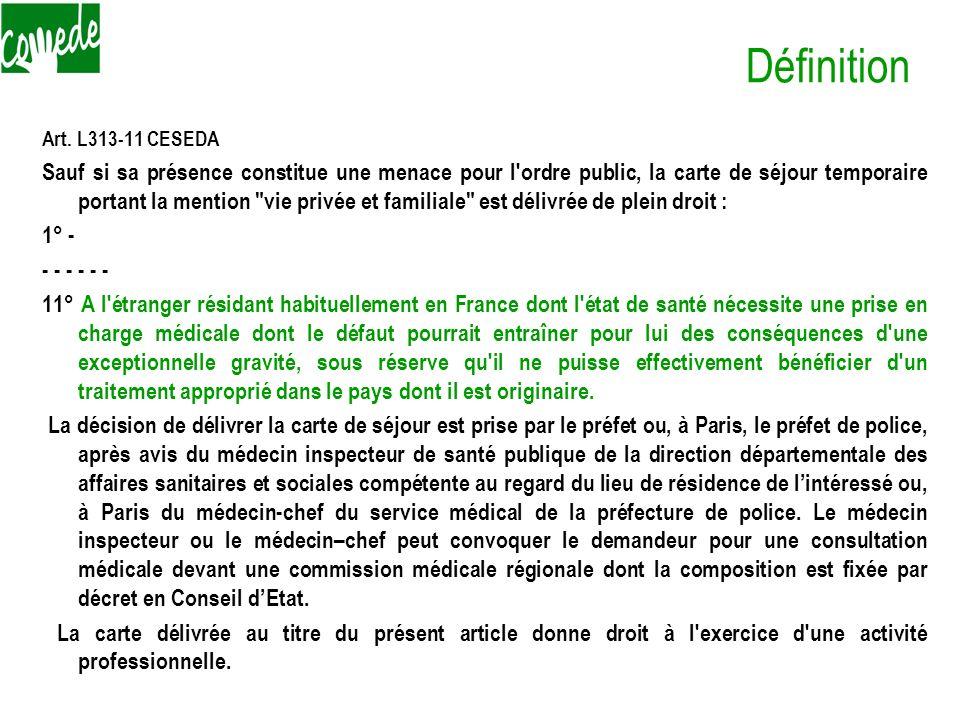 Définition Art. L313-11 CESEDA Sauf si sa présence constitue une menace pour l'ordre public, la carte de séjour temporaire portant la mention