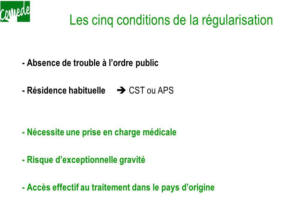Les cinq conditions de la régularisation - Absence de trouble à lordre public - Résidence habituelle CST ou APS - Nécessite une prise en charge médica