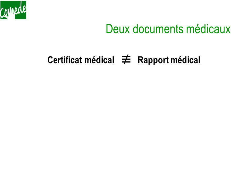 Deux documents médicaux Certificat médical Rapport médical 1) Certificat médical non descriptif à destination de ladministration 2) Rapport médical so