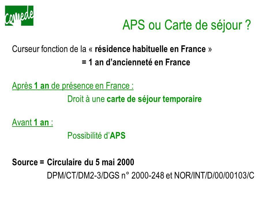 APS ou Carte de séjour ? Curseur fonction de la « résidence habituelle en France » = 1 an dancienneté en France Après 1 an de présence en France : Dro