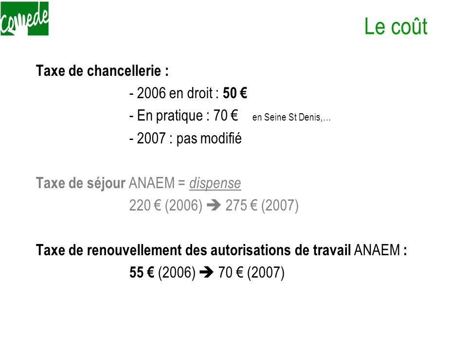 Le coût Taxe de chancellerie : - 2006 en droit : 50 - En pratique : 70 en Seine St Denis,… - 2007 : pas modifié Taxe de séjour ANAEM = dispense 220 (2
