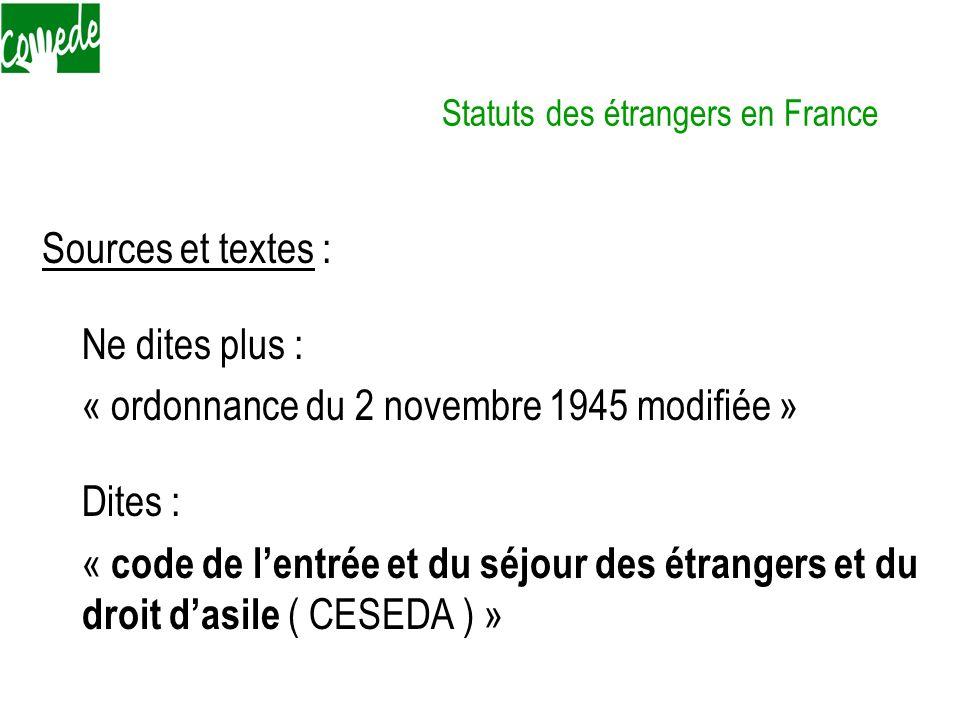 Statuts des étrangers en France Sources et textes : Ne dites plus : « ordonnance du 2 novembre 1945 modifiée » Dites : « code de lentrée et du séjour