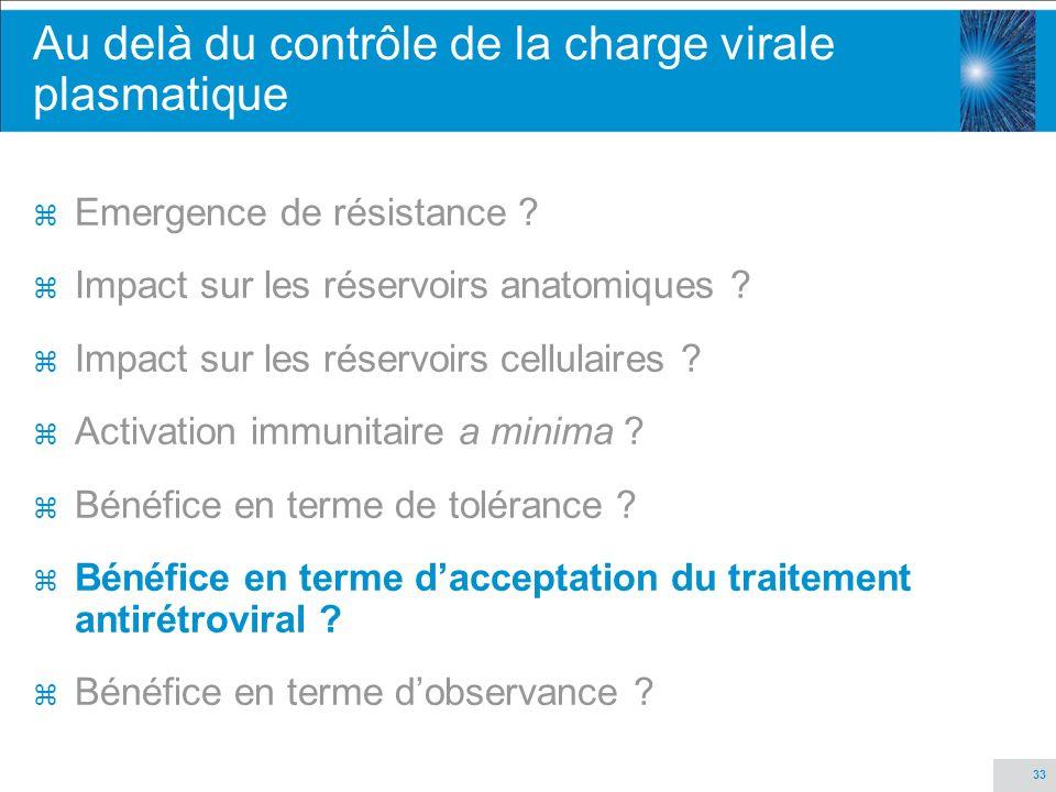 33 Au delà du contrôle de la charge virale plasmatique z Emergence de résistance ? z Impact sur les réservoirs anatomiques ? z Impact sur les réservoi