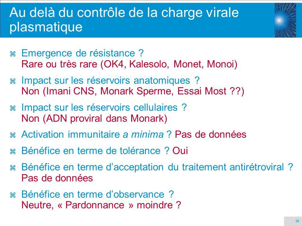 35 Au delà du contrôle de la charge virale plasmatique z Emergence de résistance ? Rare ou très rare (OK4, Kalesolo, Monet, Monoi) z Impact sur les ré
