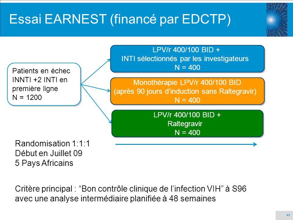41 Essai EARNEST (financé par EDCTP) Patients en échec INNTI +2 INTI en première ligne N = 1200 Patients en échec INNTI +2 INTI en première ligne N =
