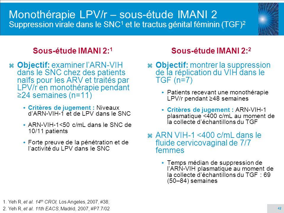 42 Monothérapie LPV/r – sous-étude IMANI 2 Suppression virale dans le SNC 1 et le tractus génital féminin (TGF) 2 Sous-étude IMANI 2: 1 z Objectif: ex