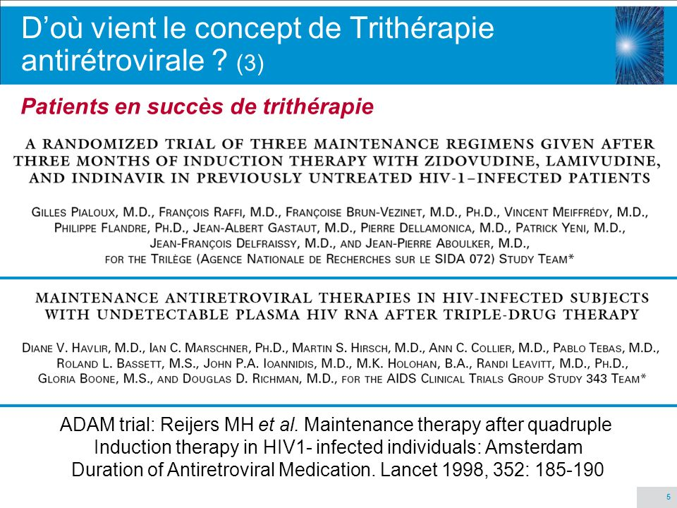 5 ADAM trial: Reijers MH et al. Maintenance therapy after quadruple Induction therapy in HIV1- infected individuals: Amsterdam Duration of Antiretrovi