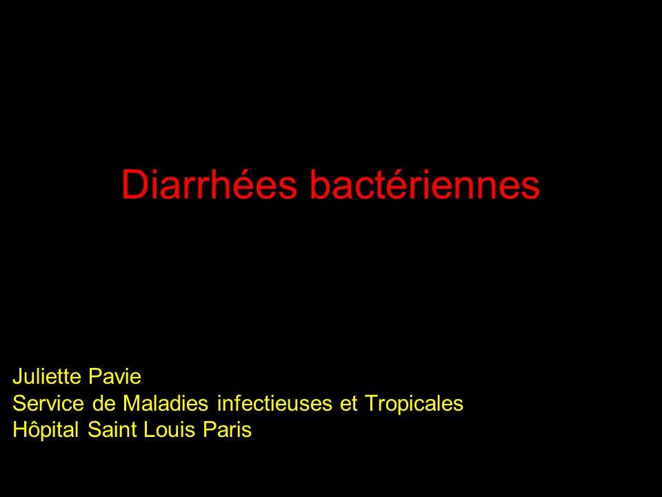 Généralités La diarrhée est un symptôme fréquent chez les patients infectés par le VIH (entre 50 % et 90% des patients) Définition de la diarrhée est variable : au moins 3 selles /jour Idéalement poids des selles >300 g/jour Etiologie multiple, agent infectieux dans 50% des cas mais origine bactérienne doit toujours être recherchée Fréquence augmentée dans la population VIH par rapport à la population générale mais Peut lier au taux de CD4 sauf peut être Campylobacter : récidive plus fréquente chez patients les plus immunodéprimés Prophylaxie par cotrimoxazole permet une diminution de leur fréquence