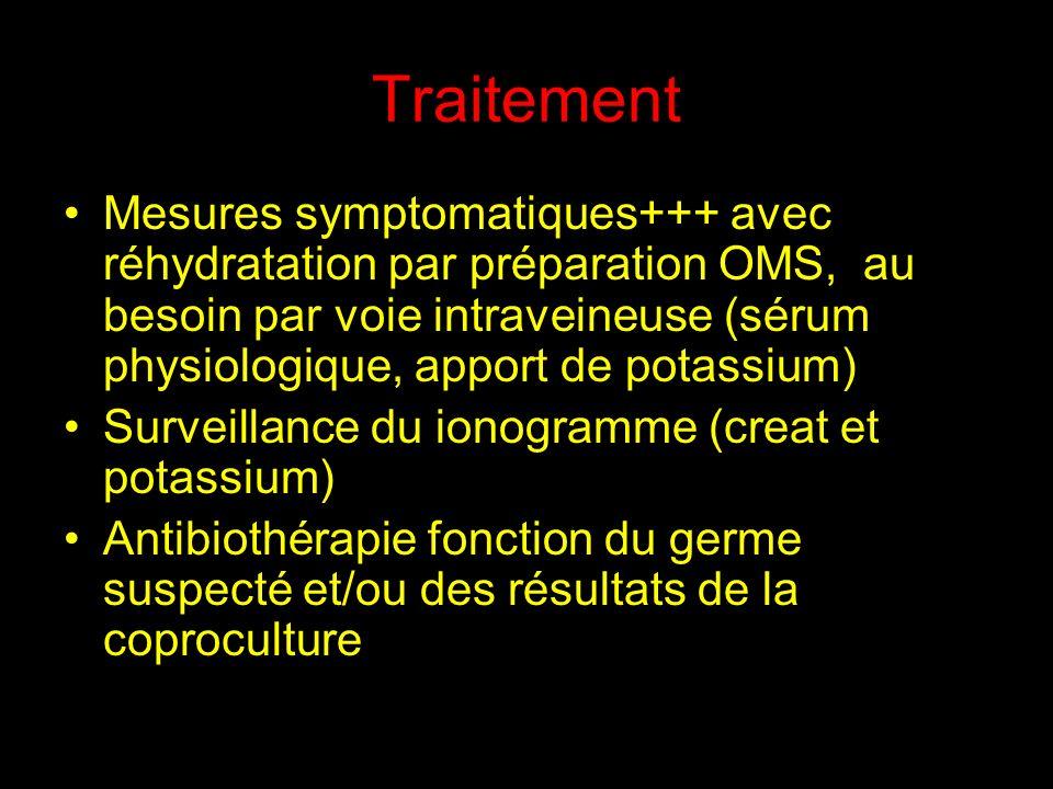 Traitement Mesures symptomatiques+++ avec réhydratation par préparation OMS, au besoin par voie intraveineuse (sérum physiologique, apport de potassiu