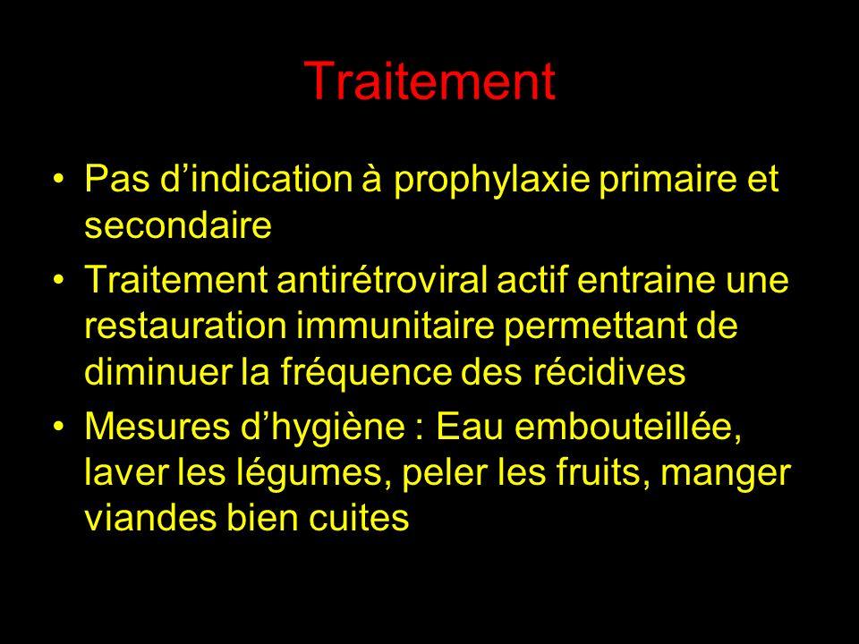 Traitement Pas dindication à prophylaxie primaire et secondaire Traitement antirétroviral actif entraine une restauration immunitaire permettant de di