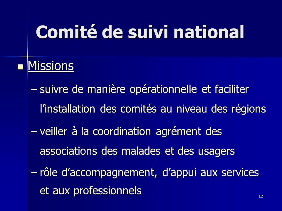 12 Comité de suivi national Missions Missions –suivre de manière opérationnelle et faciliter linstallation des comités au niveau des régions –veiller à la coordination agrément des associations des malades et des usagers –rôle daccompagnement, dappui aux services et aux professionnels