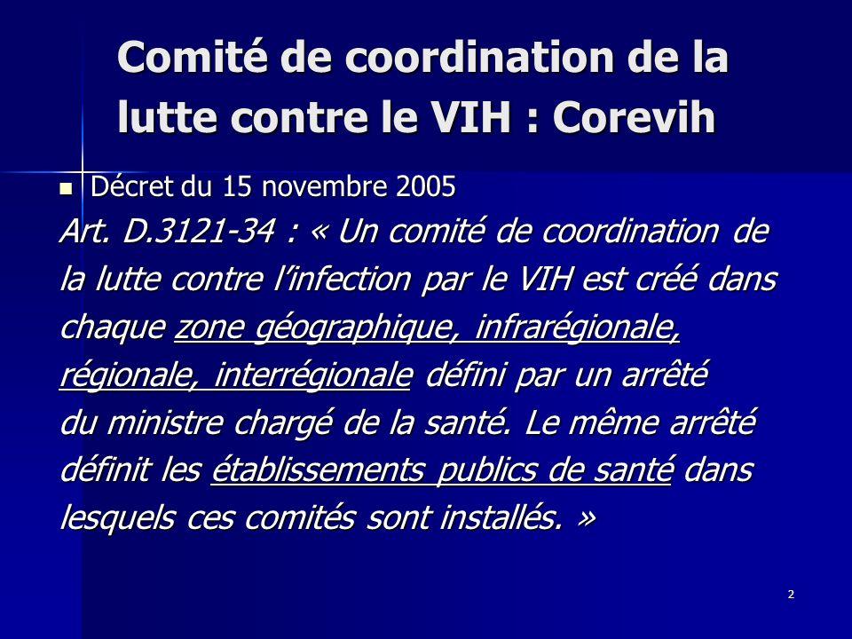 2 Comité de coordination de la lutte contre le VIH : Corevih Décret du 15 novembre 2005 Décret du 15 novembre 2005 Art.