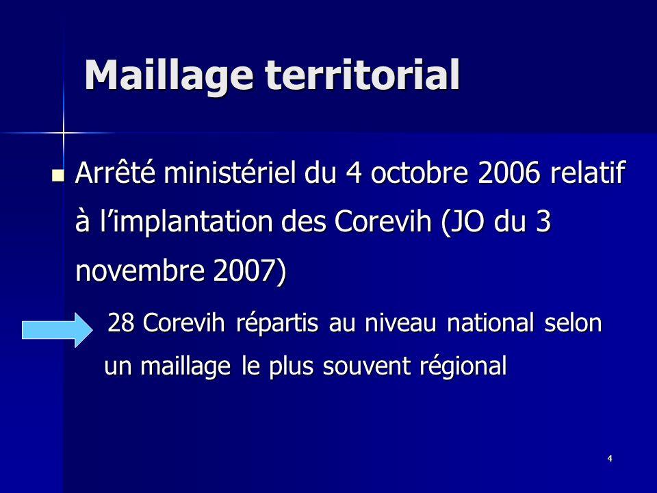4 Maillage territorial Arrêté ministériel du 4 octobre 2006 relatif à limplantation des Corevih (JO du 3 novembre 2007) Arrêté ministériel du 4 octobre 2006 relatif à limplantation des Corevih (JO du 3 novembre 2007) 28 Corevih répartis au niveau national selon un maillage le plus souvent régional 28 Corevih répartis au niveau national selon un maillage le plus souvent régional