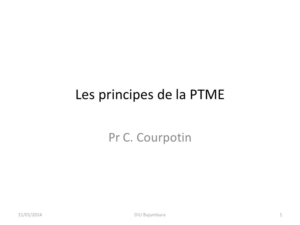 Les principes de la PTME Pr C. Courpotin 11/01/20141DIU Bujumbura