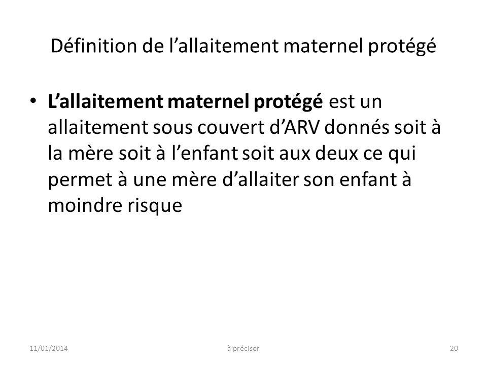 Définition de lallaitement maternel protégé Lallaitement maternel protégé est un allaitement sous couvert dARV donnés soit à la mère soit à lenfant so
