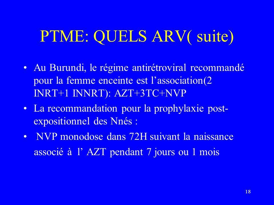 18 PTME: QUELS ARV( suite) Au Burundi, le régime antirétroviral recommandé pour la femme enceinte est lassociation(2 INRT+1 INNRT): AZT+3TC+NVP La rec