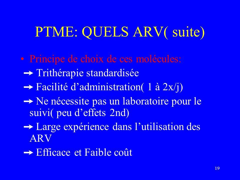 19 PTME: QUELS ARV( suite) Principe de choix de ces molécules: Trithérapie standardisée Facilité dadministration( 1 à 2x/j) Ne nécessite pas un labora