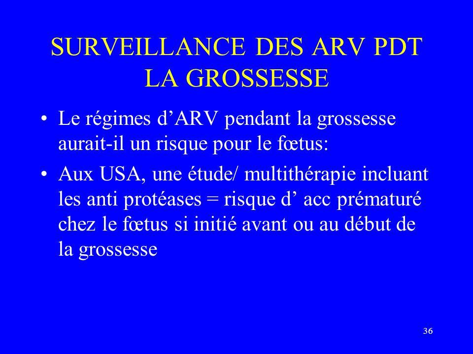 36 SURVEILLANCE DES ARV PDT LA GROSSESSE Le régimes dARV pendant la grossesse aurait-il un risque pour le fœtus: Aux USA, une étude/ multithérapie inc
