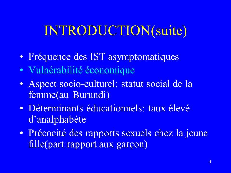4 INTRODUCTION(suite) Fréquence des IST asymptomatiques Vulnérabilité économique Aspect socio-culturel: statut social de la femme(au Burundi) Détermin
