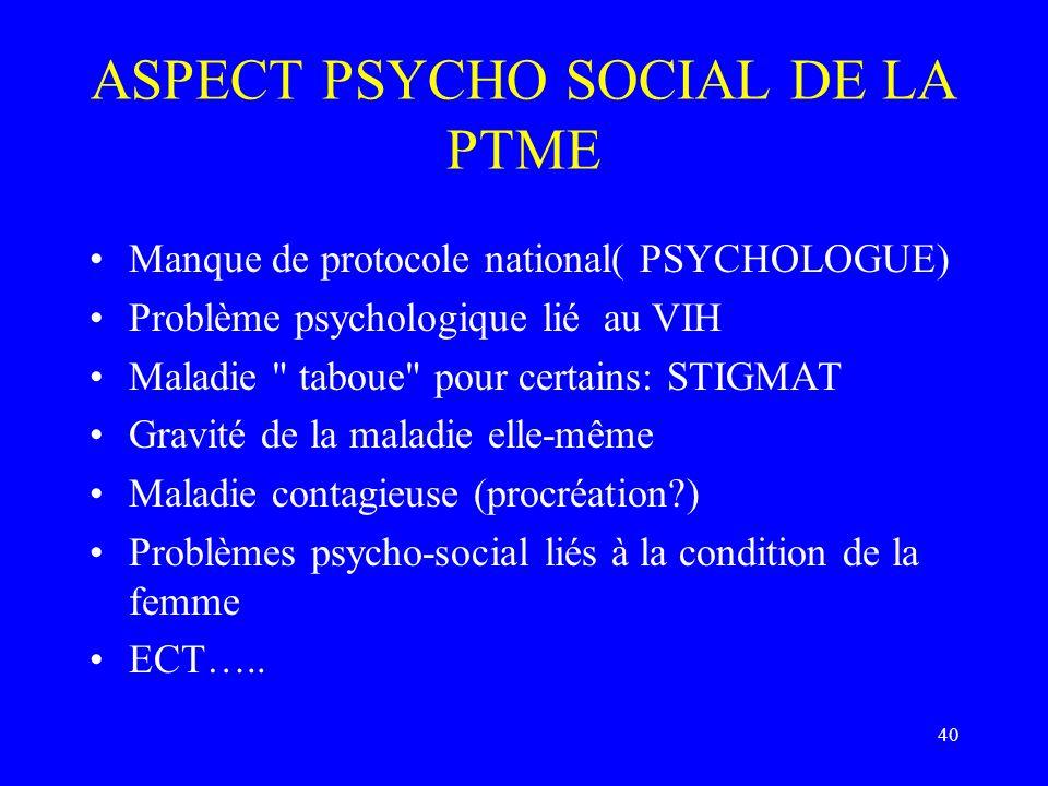 40 ASPECT PSYCHO SOCIAL DE LA PTME Manque de protocole national( PSYCHOLOGUE) Problème psychologique lié au VIH Maladie