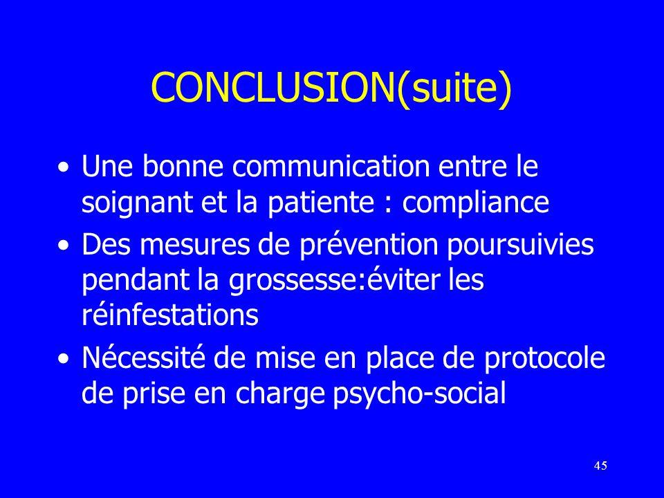 45 CONCLUSION(suite) Une bonne communication entre le soignant et la patiente : compliance Des mesures de prévention poursuivies pendant la grossesse: