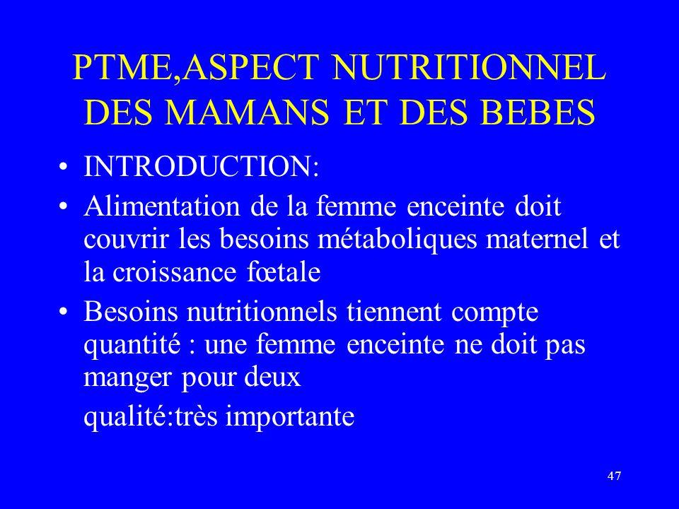 47 PTME,ASPECT NUTRITIONNEL DES MAMANS ET DES BEBES INTRODUCTION: Alimentation de la femme enceinte doit couvrir les besoins métaboliques maternel et