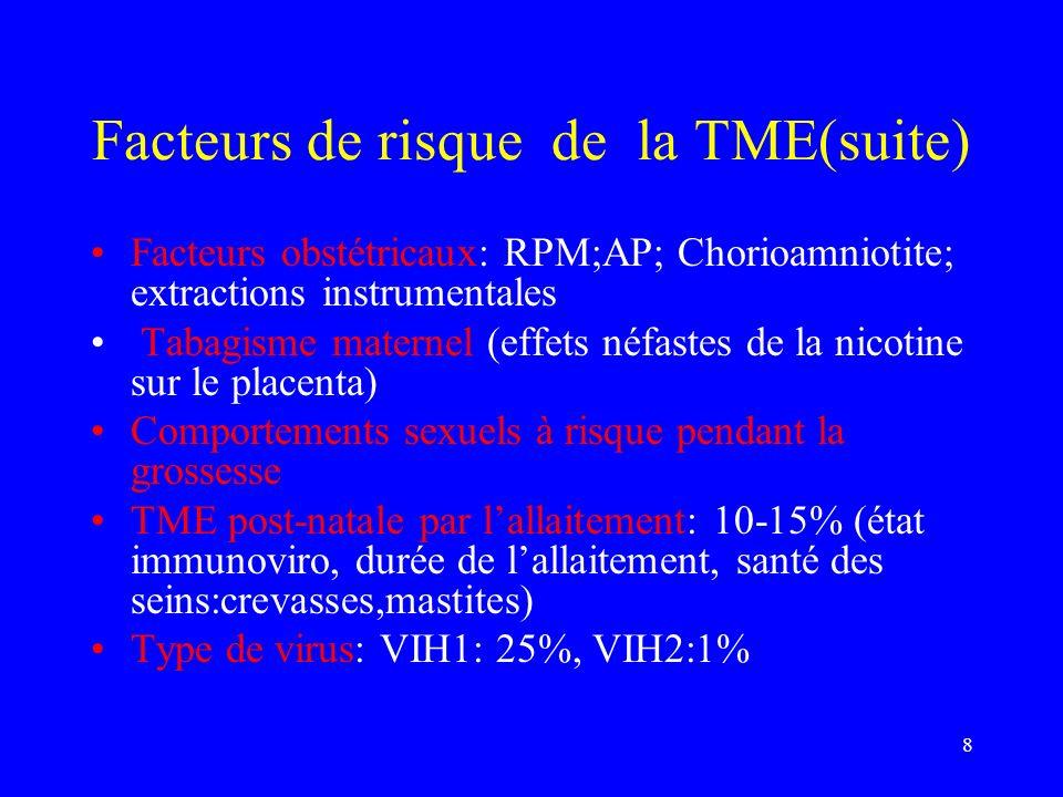 8 Facteurs de risque de la TME(suite) Facteurs obstétricaux: RPM;AP; Chorioamniotite; extractions instrumentales Tabagisme maternel (effets néfastes d