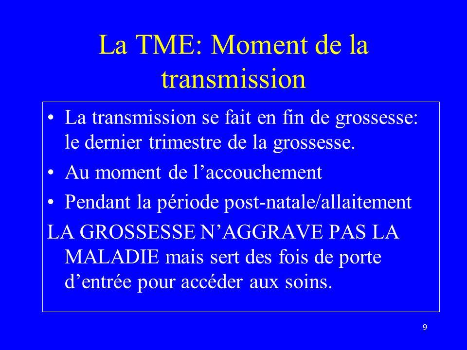 9 La TME: Moment de la transmission La transmission se fait en fin de grossesse: le dernier trimestre de la grossesse. Au moment de laccouchement Pend