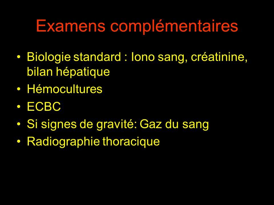 Examens complémentaires Biologie standard : Iono sang, créatinine, bilan hépatique Hémocultures ECBC Si signes de gravité: Gaz du sang Radiographie th