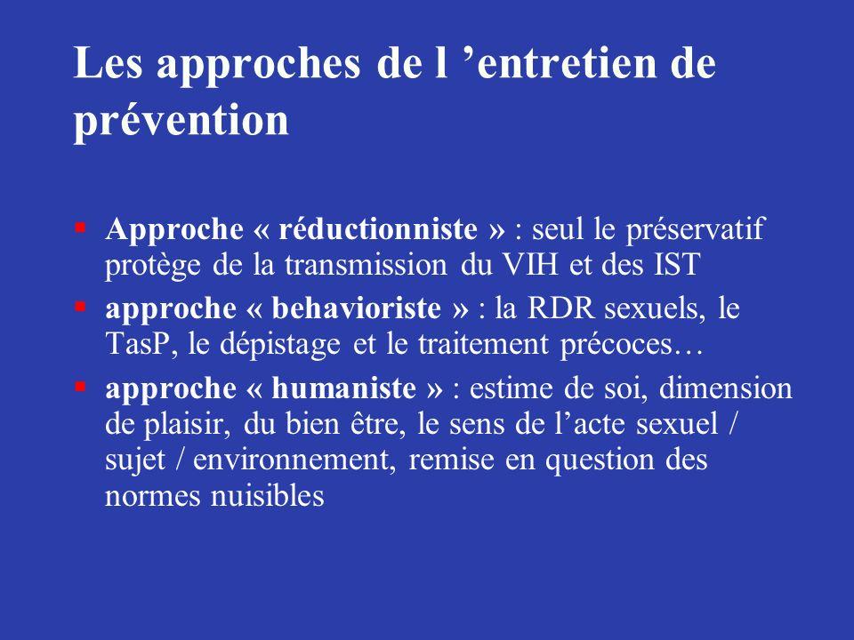 Les approches de l entretien de prévention §Approche « réductionniste » : seul le préservatif protège de la transmission du VIH et des IST §approche «