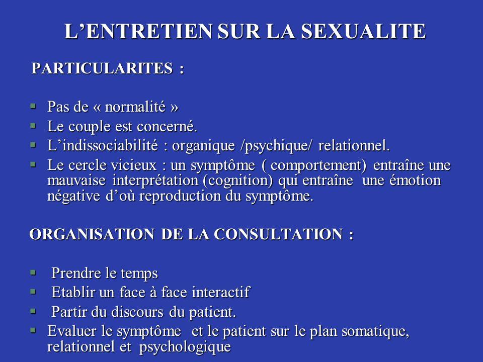 LENTRETIEN SUR LA SEXUALITE PARTICULARITES : PARTICULARITES : §Pas de « normalité » §Le couple est concerné. §Lindissociabilité : organique /psychique