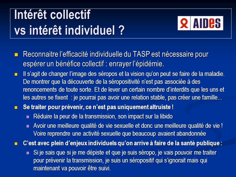 Reconnaitre lefficacité individuelle du TASP est nécessaire pour espérer un bénéfice collectif : enrayer lépidémie.