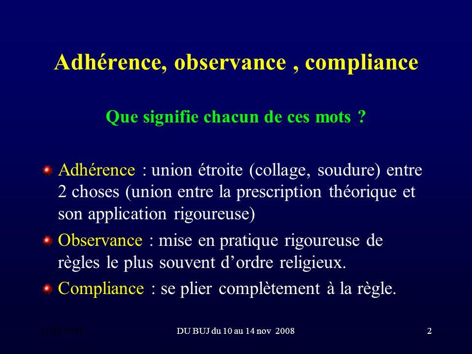 DU BUJ du 10 au 14 nov 20083 Adhérence, observance, compliance Observance > 95%.