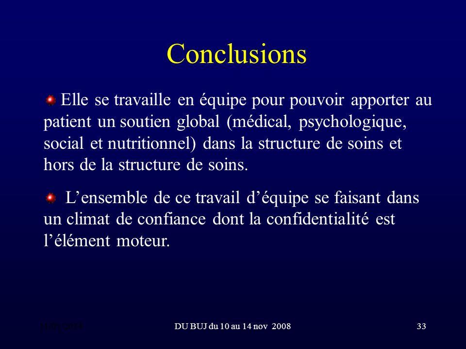 DU BUJ du 10 au 14 nov 200833 Conclusions Elle se travaille en équipe pour pouvoir apporter au patient un soutien global (médical, psychologique, social et nutritionnel) dans la structure de soins et hors de la structure de soins.