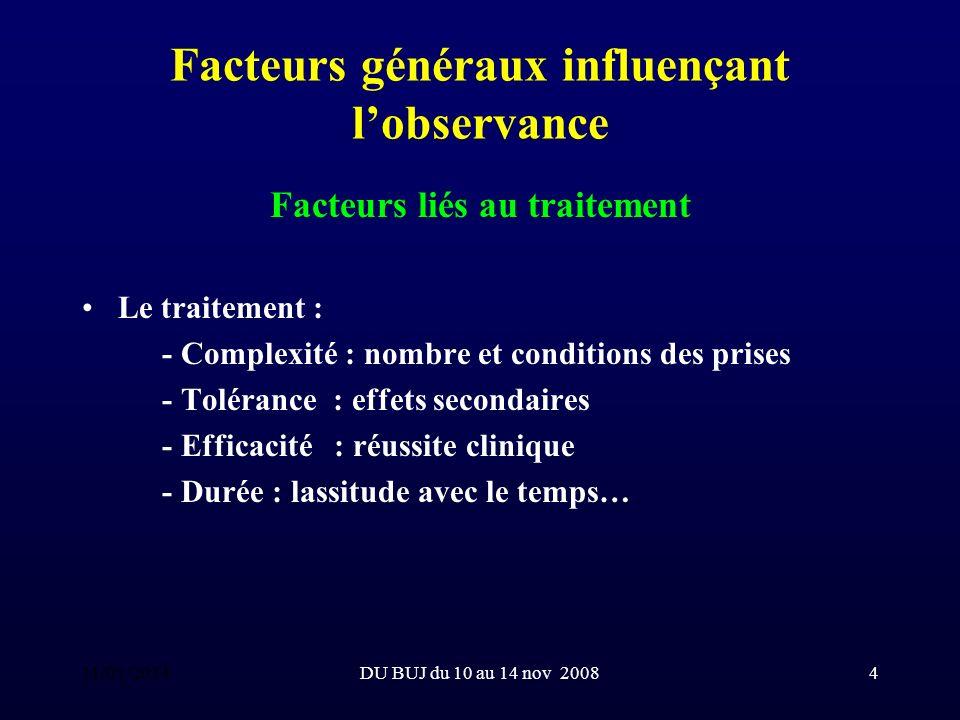 DU BUJ du 10 au 14 nov 200815 Particularités de lobservance chez le jeune enfant (suite) Le Pouvoir : il faut, avec le tuteur, envisager toutes les conditions matérielles nécessaires à la réussite du traitement.