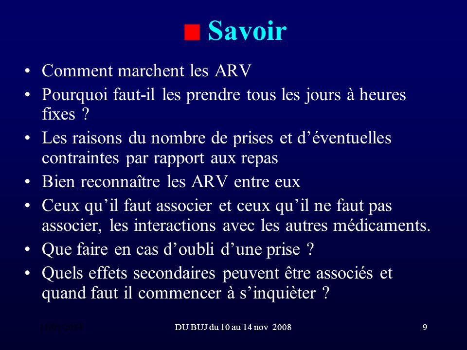 DU BUJ du 10 au 14 nov 20089 Savoir Comment marchent les ARV Pourquoi faut-il les prendre tous les jours à heures fixes .
