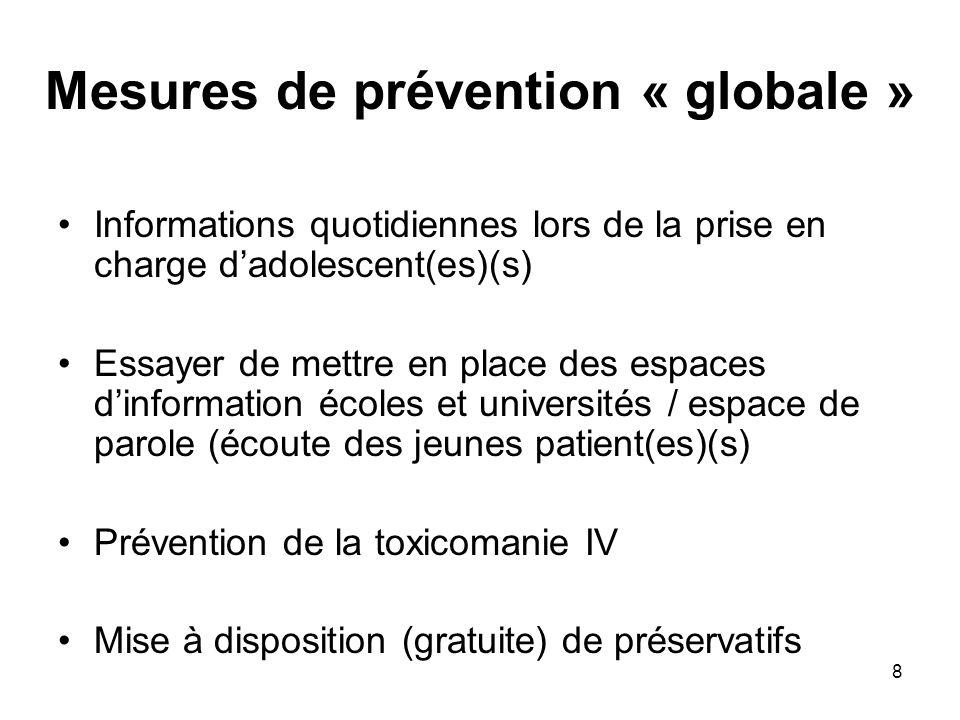 8 Mesures de prévention « globale » Informations quotidiennes lors de la prise en charge dadolescent(es)(s) Essayer de mettre en place des espaces din
