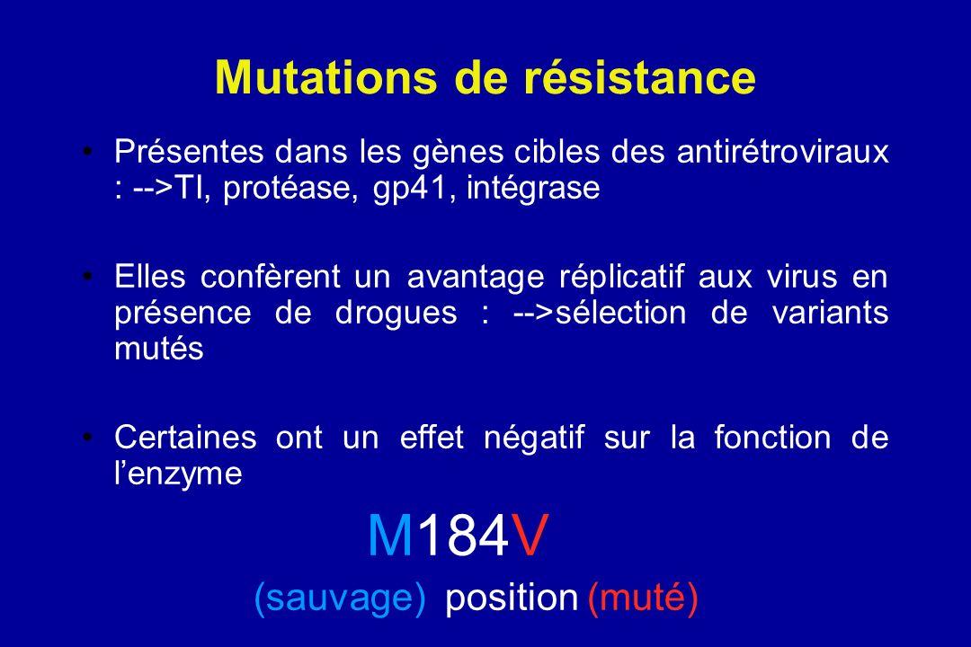 Mutations de résistance Présentes dans les gènes cibles des antirétroviraux : -->TI, protéase, gp41, intégrase Elles confèrent un avantage réplicatif