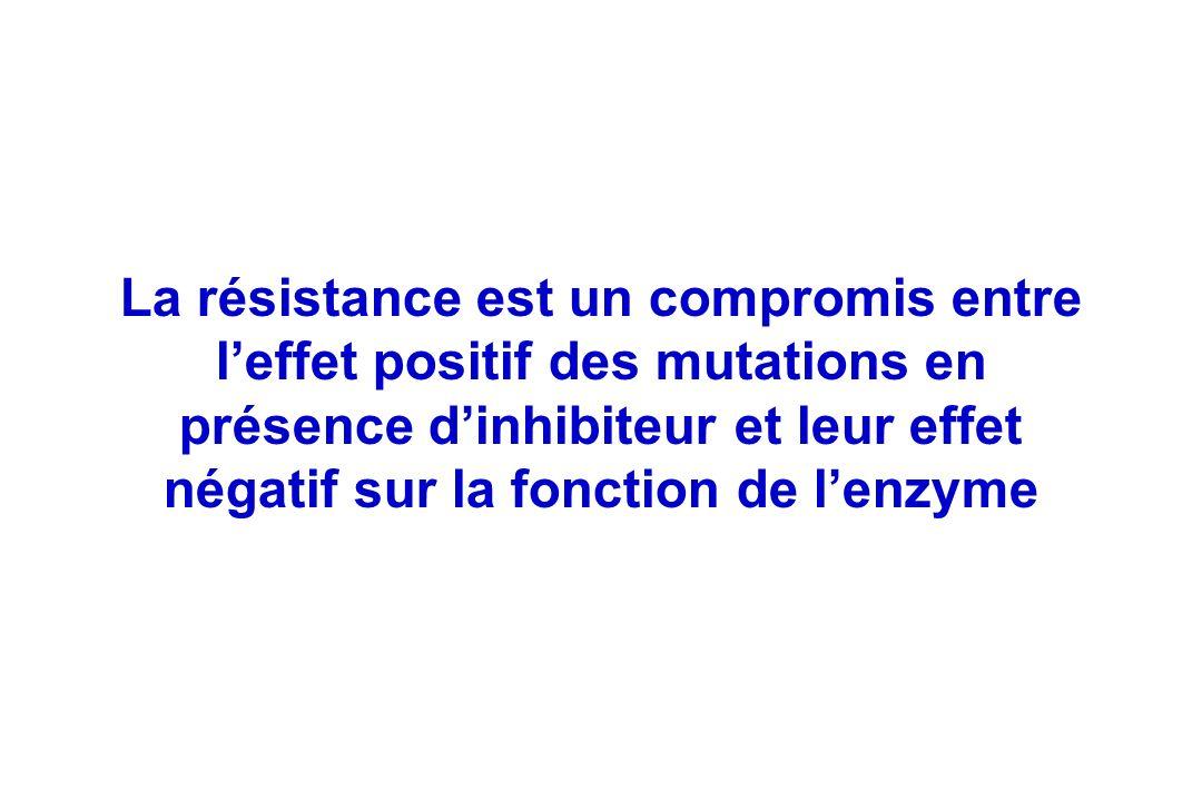 La résistance est un compromis entre leffet positif des mutations en présence dinhibiteur et leur effet négatif sur la fonction de lenzyme