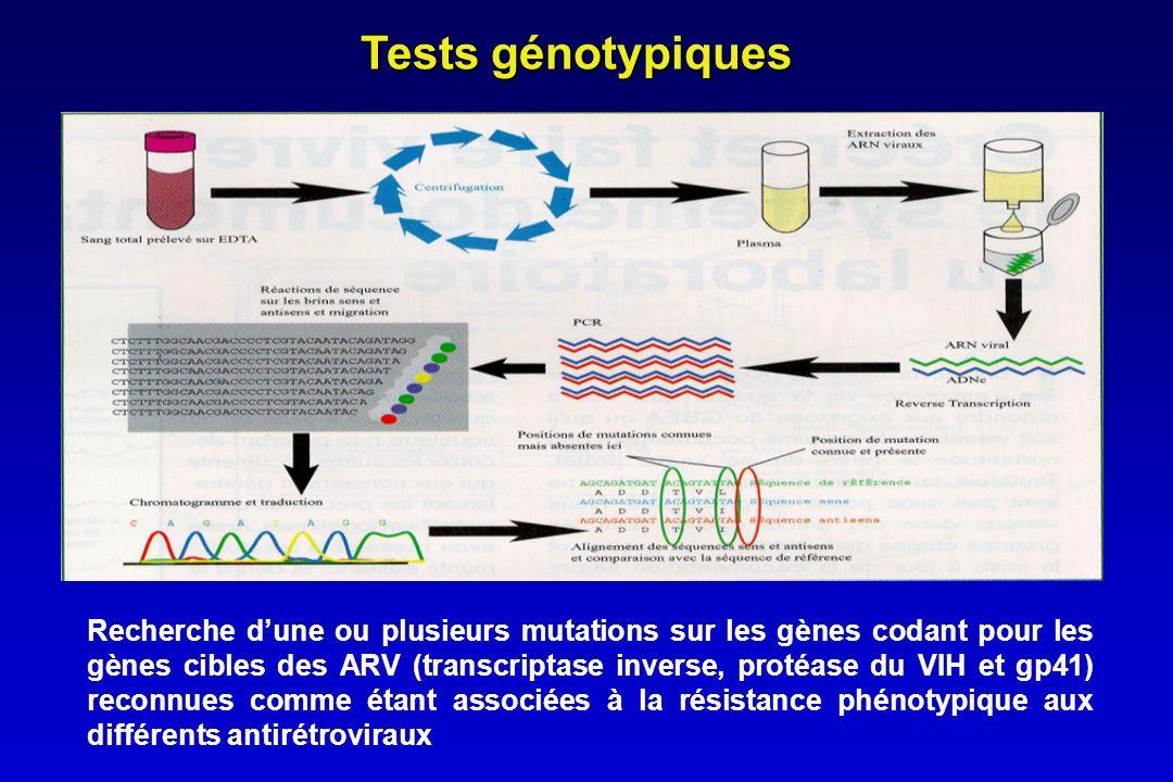 Tests génotypiques Recherche dune ou plusieurs mutations sur les gènes codant pour les gènes cibles des ARV (transcriptase inverse, protéase du VIH et