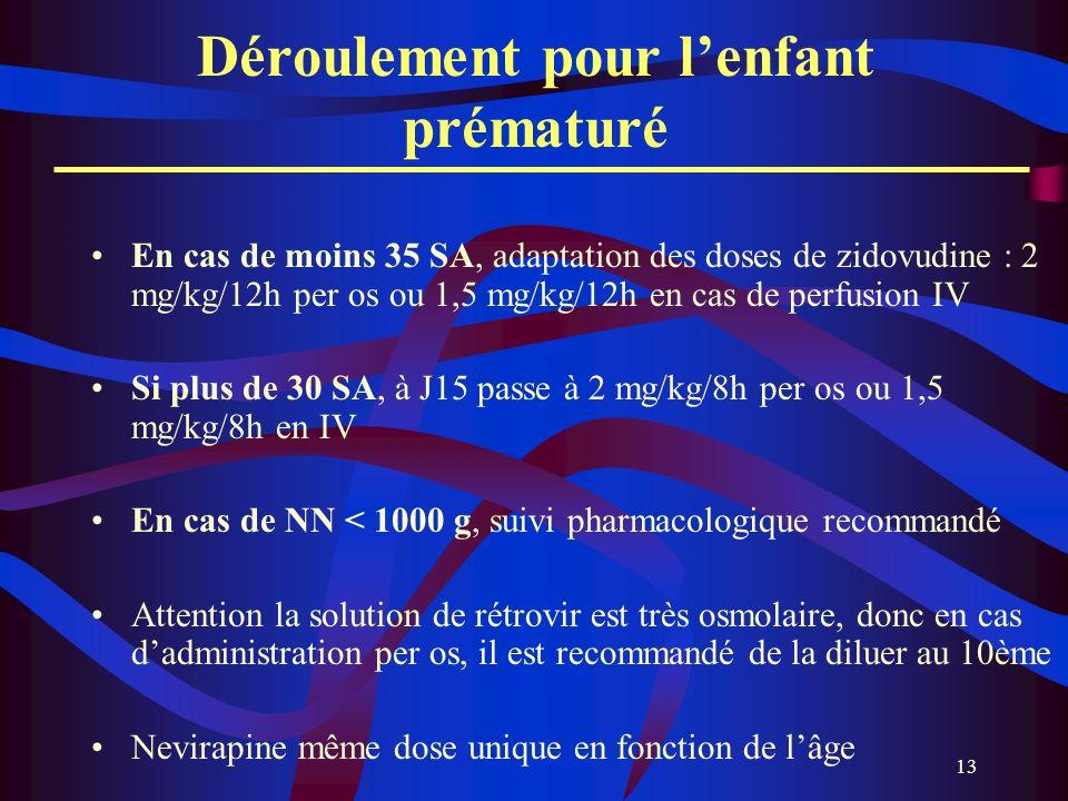13 En cas de moins 35 SA, adaptation des doses de zidovudine : 2 mg/kg/12h per os ou 1,5 mg/kg/12h en cas de perfusion IV Si plus de 30 SA, à J15 pass