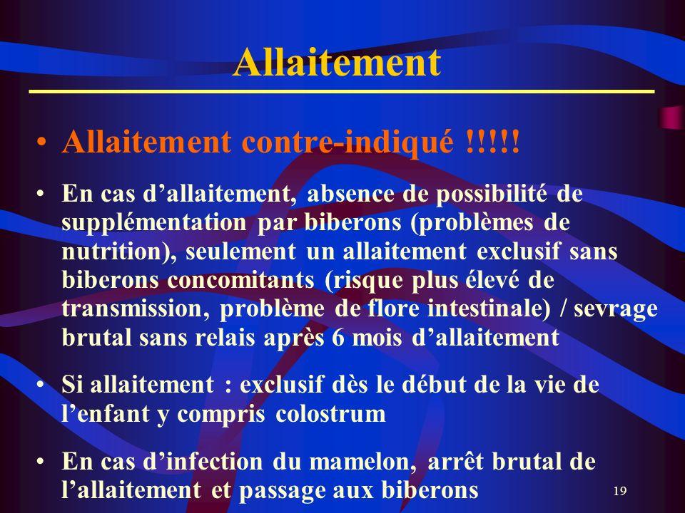 19 Allaitement Allaitement contre-indiqué !!!!! En cas dallaitement, absence de possibilité de supplémentation par biberons (problèmes de nutrition),
