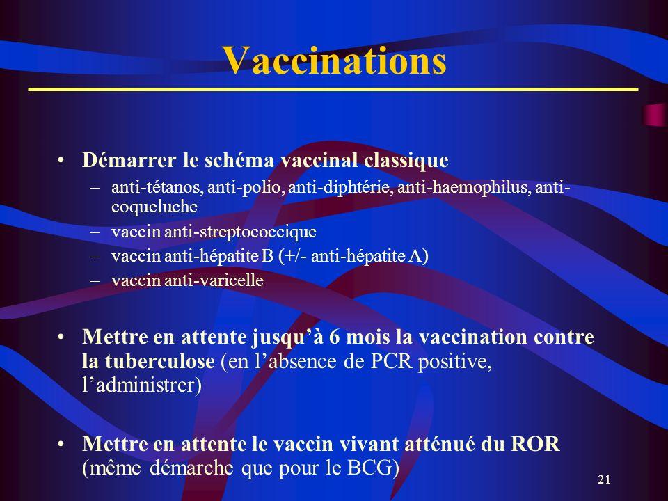 21 Vaccinations Démarrer le schéma vaccinal classique –anti-tétanos, anti-polio, anti-diphtérie, anti-haemophilus, anti- coqueluche –vaccin anti-strep