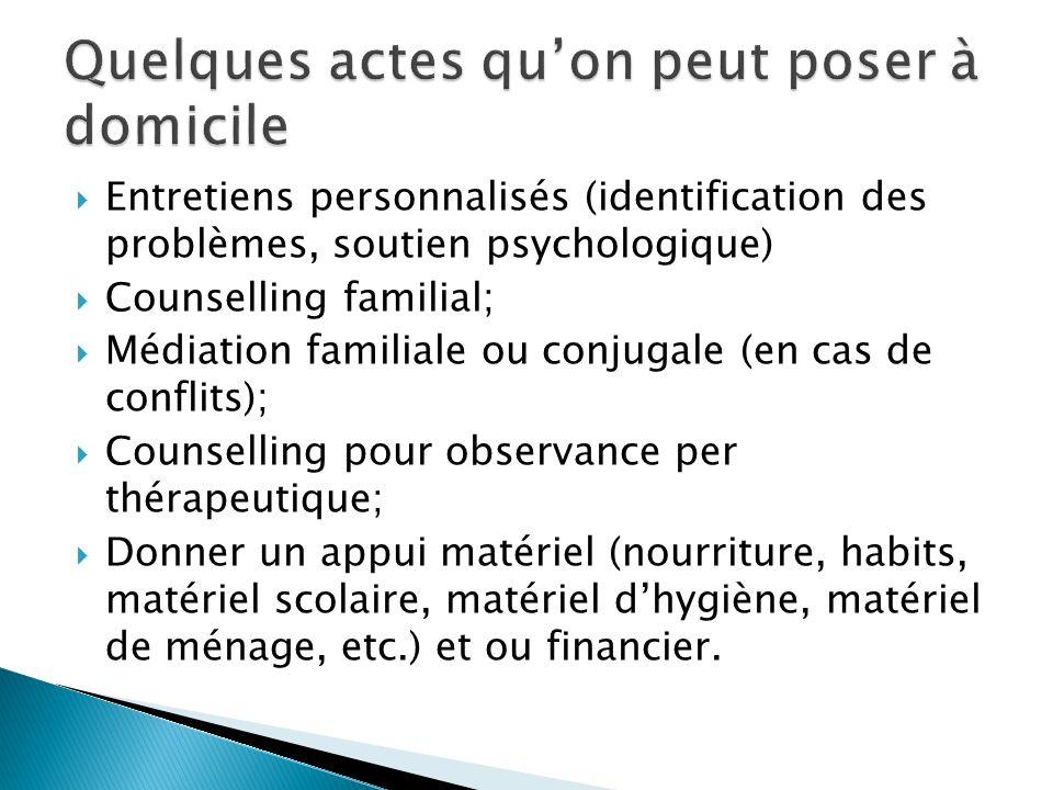 Entretiens personnalisés (identification des problèmes, soutien psychologique) Counselling familial; Médiation familiale ou conjugale (en cas de confl