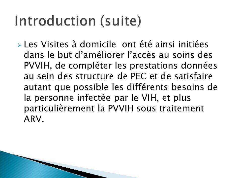 Les Visites à domicile ont été ainsi initiées dans le but daméliorer laccès au soins des PVVIH, de compléter les prestations données au sein des struc