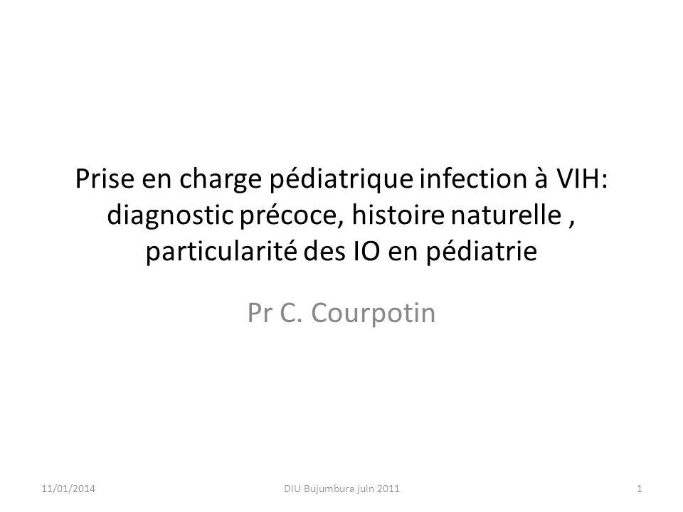 Prise en charge pédiatrique infection à VIH: diagnostic précoce, histoire naturelle, particularité des IO en pédiatrie Pr C. Courpotin 11/01/20141DIU