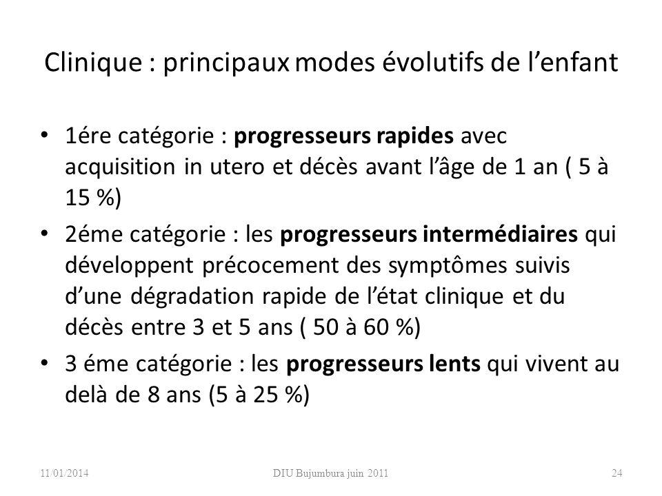 DIU Bujumbura juin 201124 Clinique : principaux modes évolutifs de lenfant 1ére catégorie : progresseurs rapides avec acquisition in utero et décès av