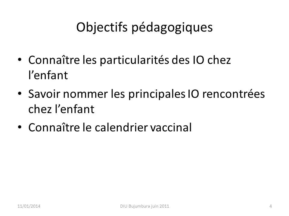 Objectifs pédagogiques Connaître les particularités des IO chez lenfant Savoir nommer les principales IO rencontrées chez lenfant Connaître le calendr